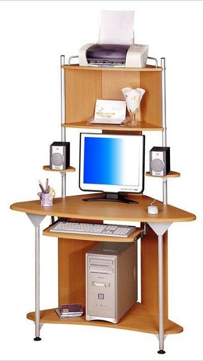 Tall Cherry Multifunctional Corner Computer Desk
