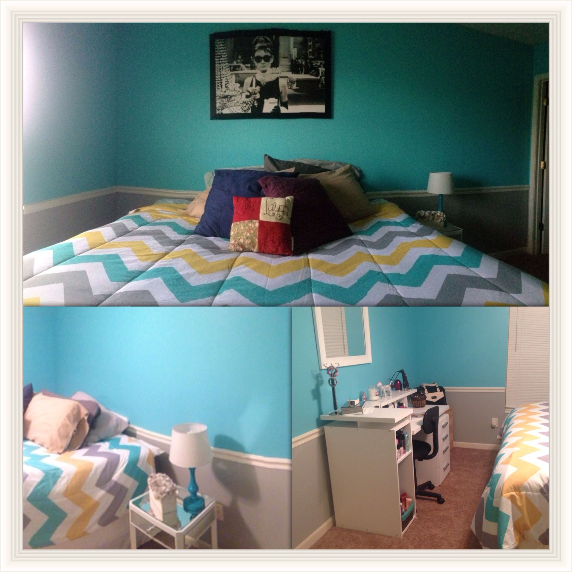 tiffany blue and audrey hepburn room decor! porter paints gray