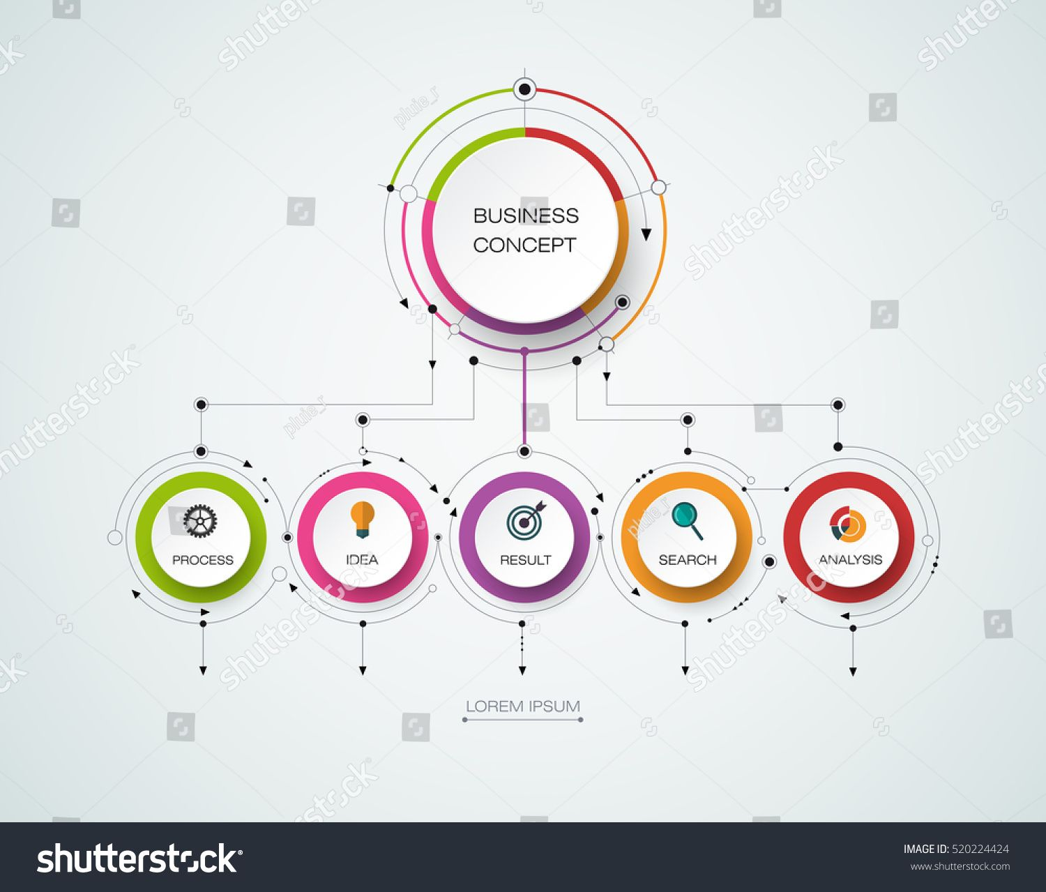 vector infographic template with 3d paper label integrated circles business concept with options for content diagram flowchart steps parts  [ 1500 x 1279 Pixel ]