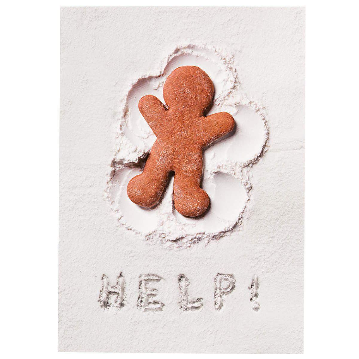 CARD Postkarte Lebkuchenmann HELP!    E-Mails sind schön und gut. Aber Grüße, die von Herzen kommen, kann eine handgeschriebene Karte viel stilvoller überbringen. Klassische Postkarte mit Vordruck auf der Rückseite. In verschiedenen Winter- bzw. Weihnachtsmotive erhältlich.    Größe: Breite 10,5 x Höhe 14,8 cm...