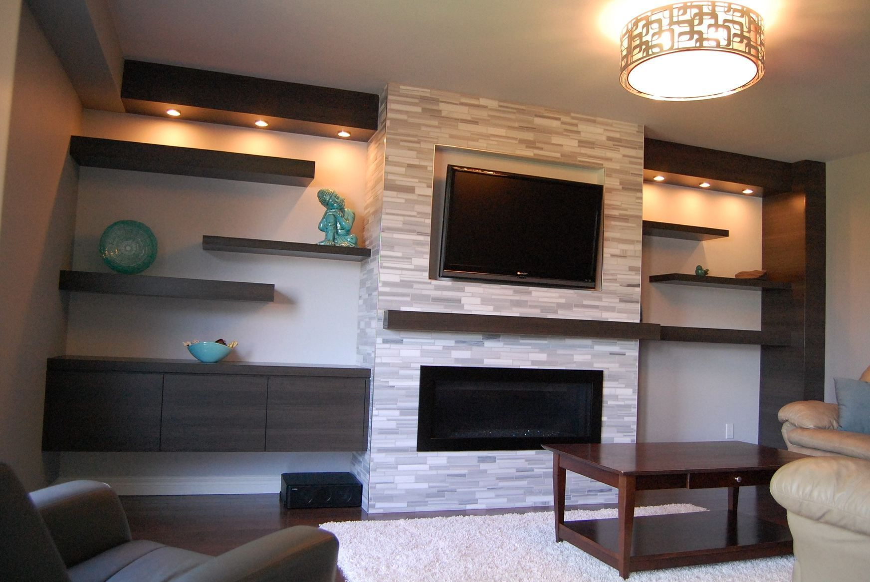 Fireplace With Tile And Wood Mantel Shelf
