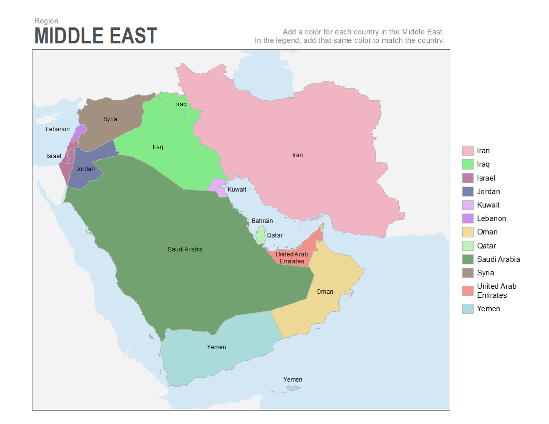 Punctual Europe Middle East Map Blank Middle East