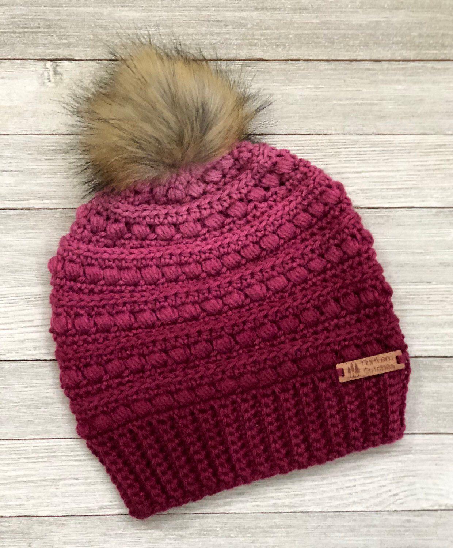 Handmade Malia Beanie - Crochet Winter Hat - Faux Fur Pom - Fall Hat -  Winter Hat - Hat - Beanie - Crochet Beanie d1050271ee3