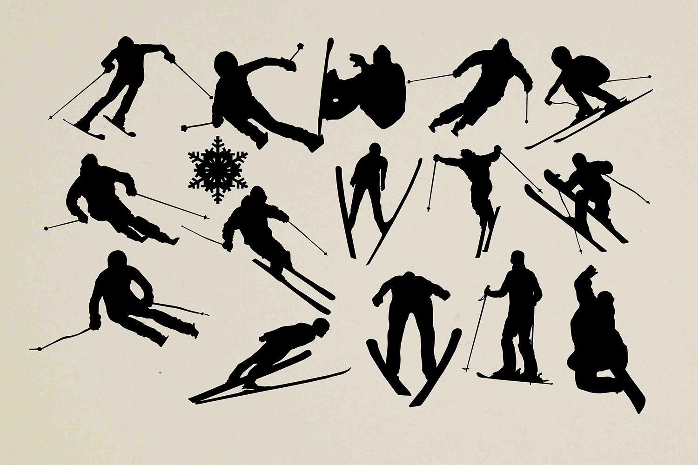 Skiing Svg Silhouettes S Izobrazheniyami Dizajn Brenda Dizajn