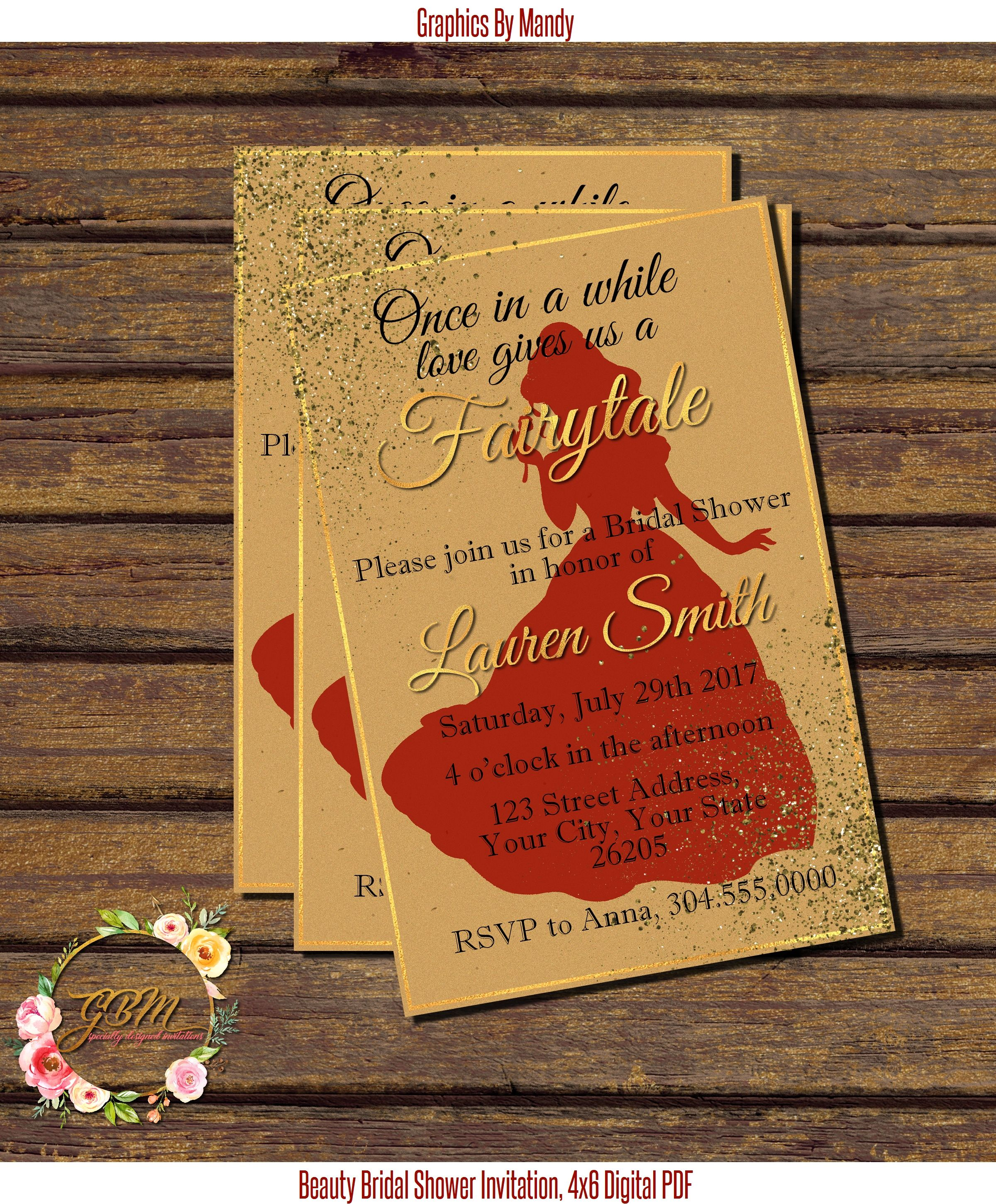 Beauty and the Beast inspired Bridal Shower invitation 4x6 PDF