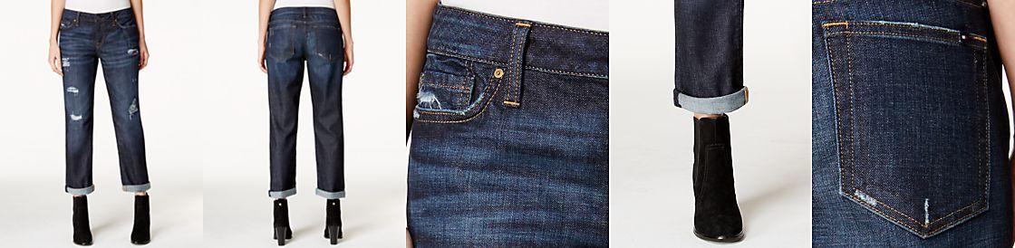 Tommy Hilfiger Ripped Flannel Inset Boyfriend Jeans, Dark Wash