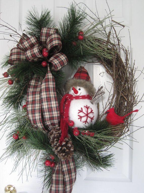 Christmas Door Wreath Country Woodlands Winter Wreath Snowman Holiday Wreath Front Door Wreath Evergreen Grapevine Wreath Christmas Wreaths Christmas Wreaths Diy Rustic Christmas Wreath