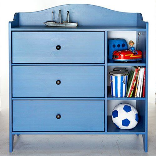 Ikea Trogen Blue Nursery Room Kids Chest Of Drawers Solid Wood Boys Bedroom Furniture