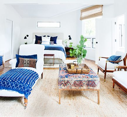 Bedroom with navy accents.