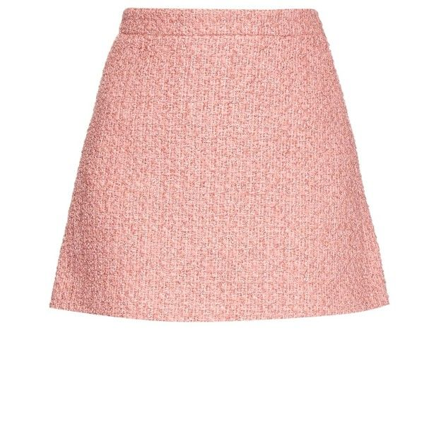 a7cf72b7d275 Gucci Tweed A-line mini skirt (£705) ❤ liked on Polyvore featuring skirts,  mini skirts, short a line skirt, pink high waisted skirt, high-waist skirt,  ...