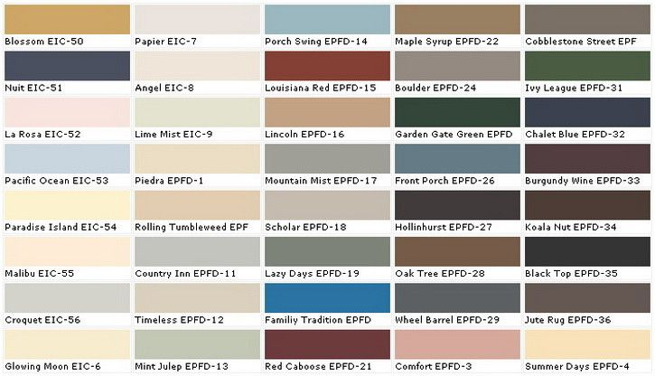 Paint Sample Colors Chart  Wall Coverings    Colour