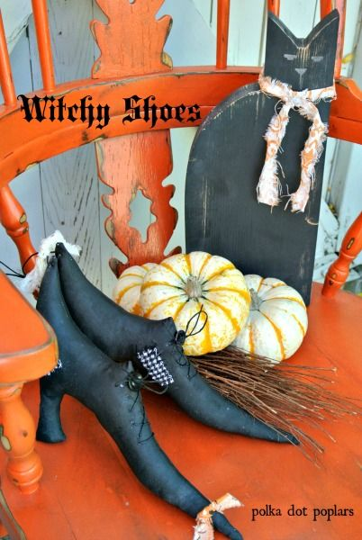 Make some cute witchy shoes for your Halloween decor Tutorial and