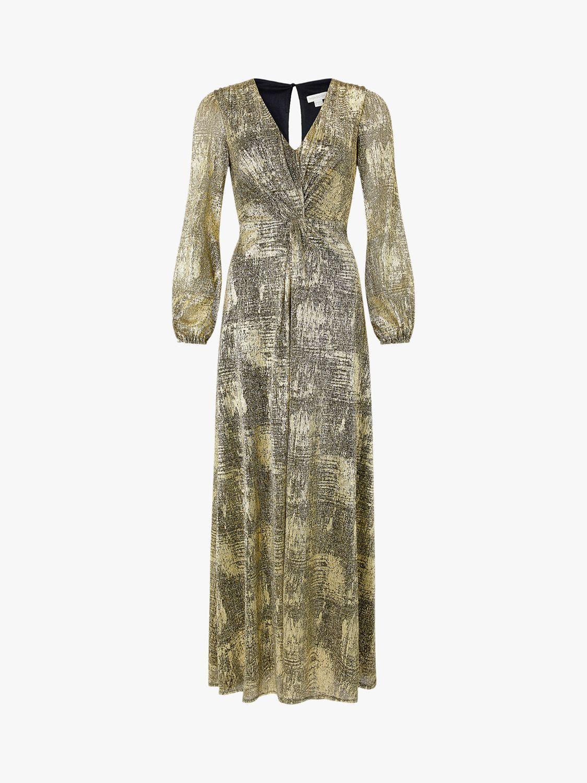 Monsoon Vanessa Twist Maxi Dress, Gold   Metallic maxi
