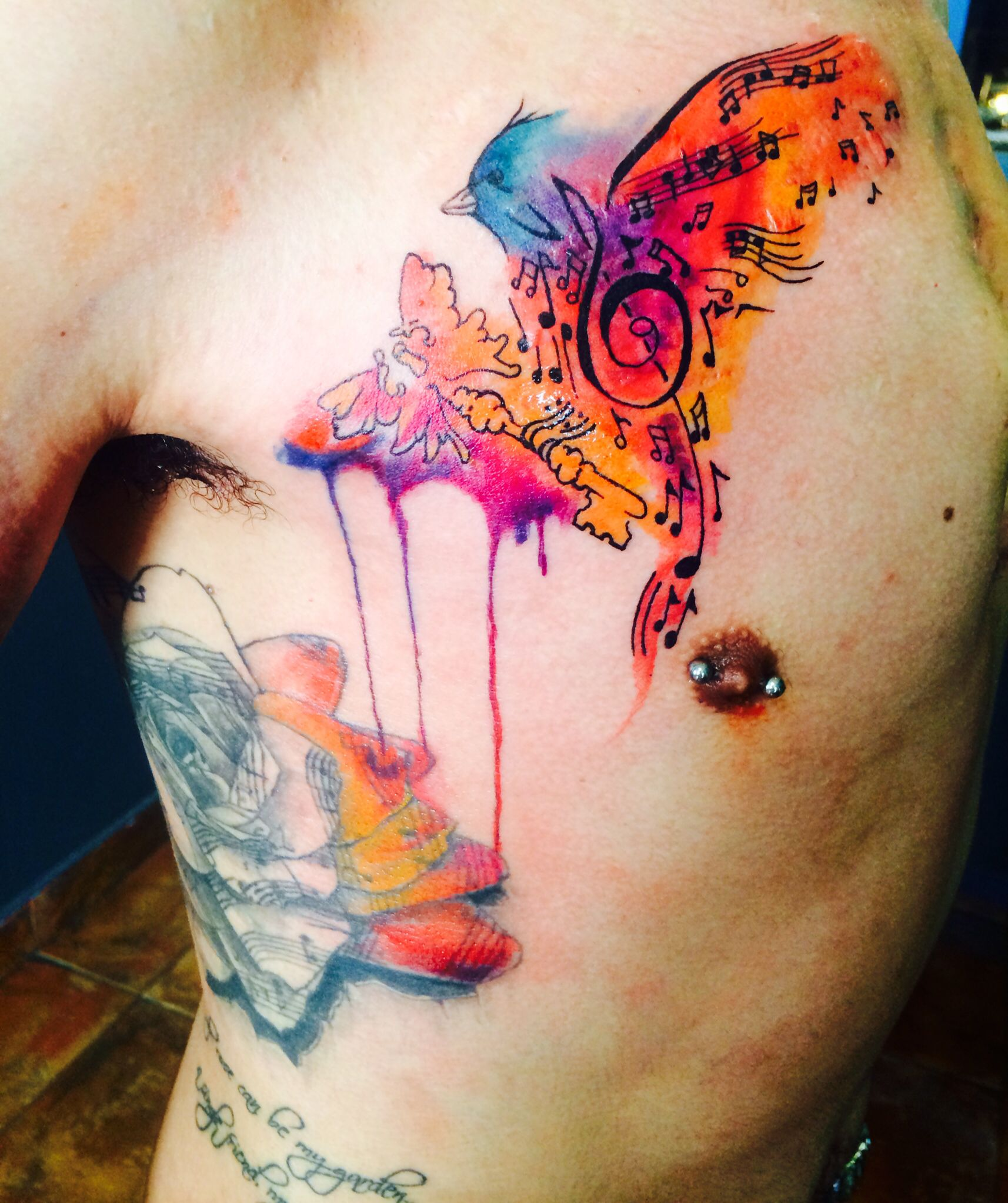 Watercolor tattoo done at: Love Sick Ink in Denver, CO. Artist ...