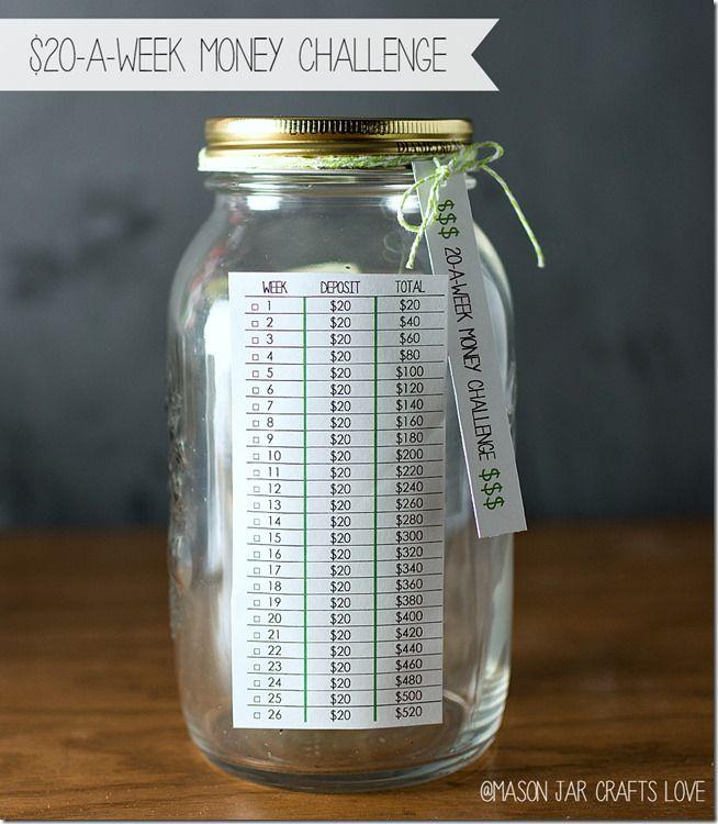 20 A Week Challenge Mason Jar Crafts Love Money Challenge Money Saving Challenge Money Saving Jar