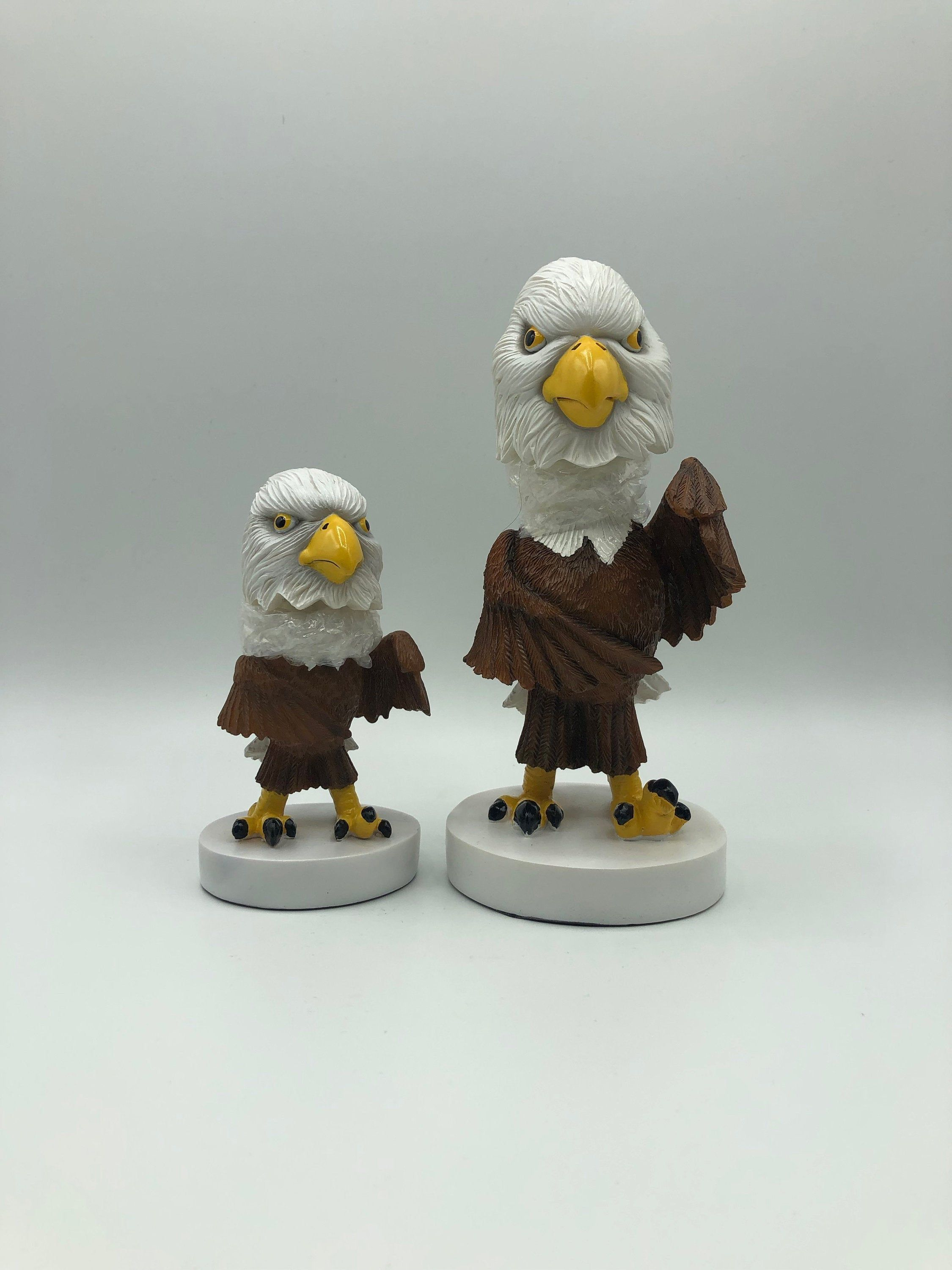 Bald Eagle Bobble Head Statues Set of 2 Eagles Eaglet Sculptures Figurines Collectible Eagle Mascot Bobbleheads USA Patriotic Knick Knack #knickknack