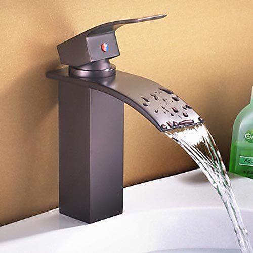 Aquafaucet Waterfall Spout Single Handle Bathroom Sink Vessel Faucet Basin Mixer Tap Orb Oil Bathroom Sink Faucets Sink Faucets Bathroom Sink Faucets Waterfall