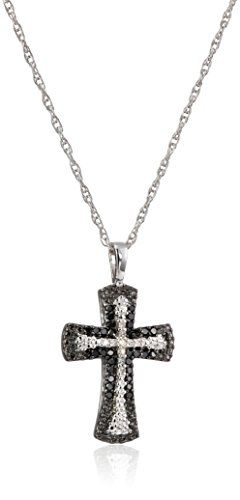 Sterling silver black and white diamond cross pendant necklace 1 sterling silver black and white diamond cross pendant necklace 14 cttw mozeypictures Choice Image