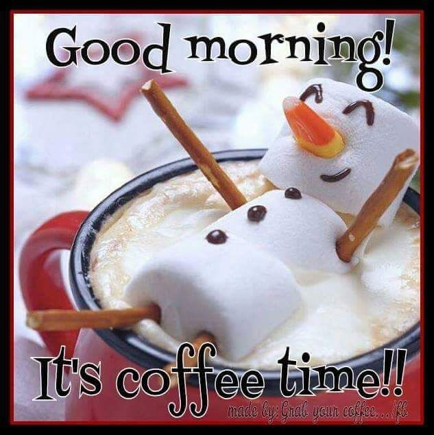 Marshmallow Snowman Good Morning Coffee Time Quote | Greetings ... #coffeeTime