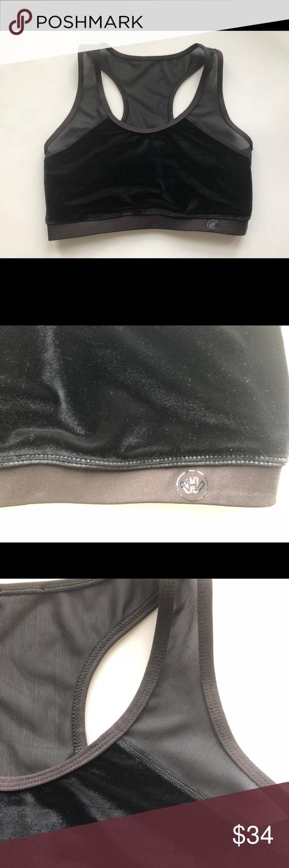 00fee4963ef93 New HOLLIE WATMAN Sports Bra Velvet black mesh Hollie Watman Sports bra  size Small New no