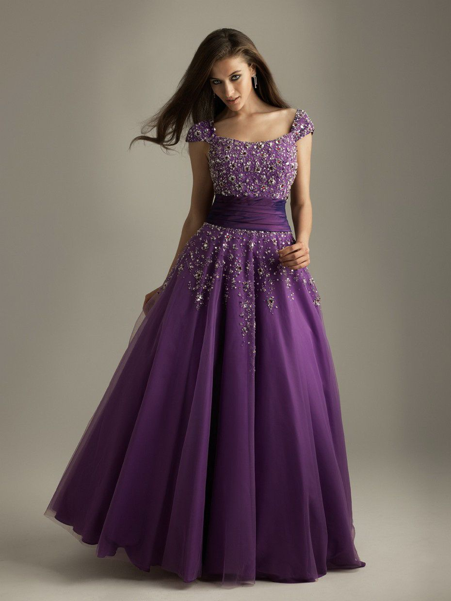 a line cap sleeve square neckline beaded dark violet prom dress ...
