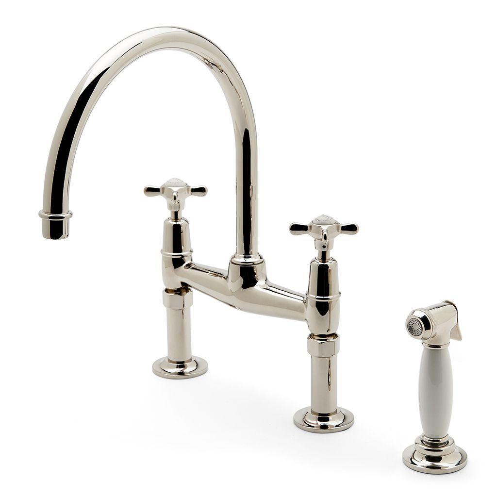 Easton Classic Two Hole Bridge Kitchen Faucet, Metal Cross Handles ...