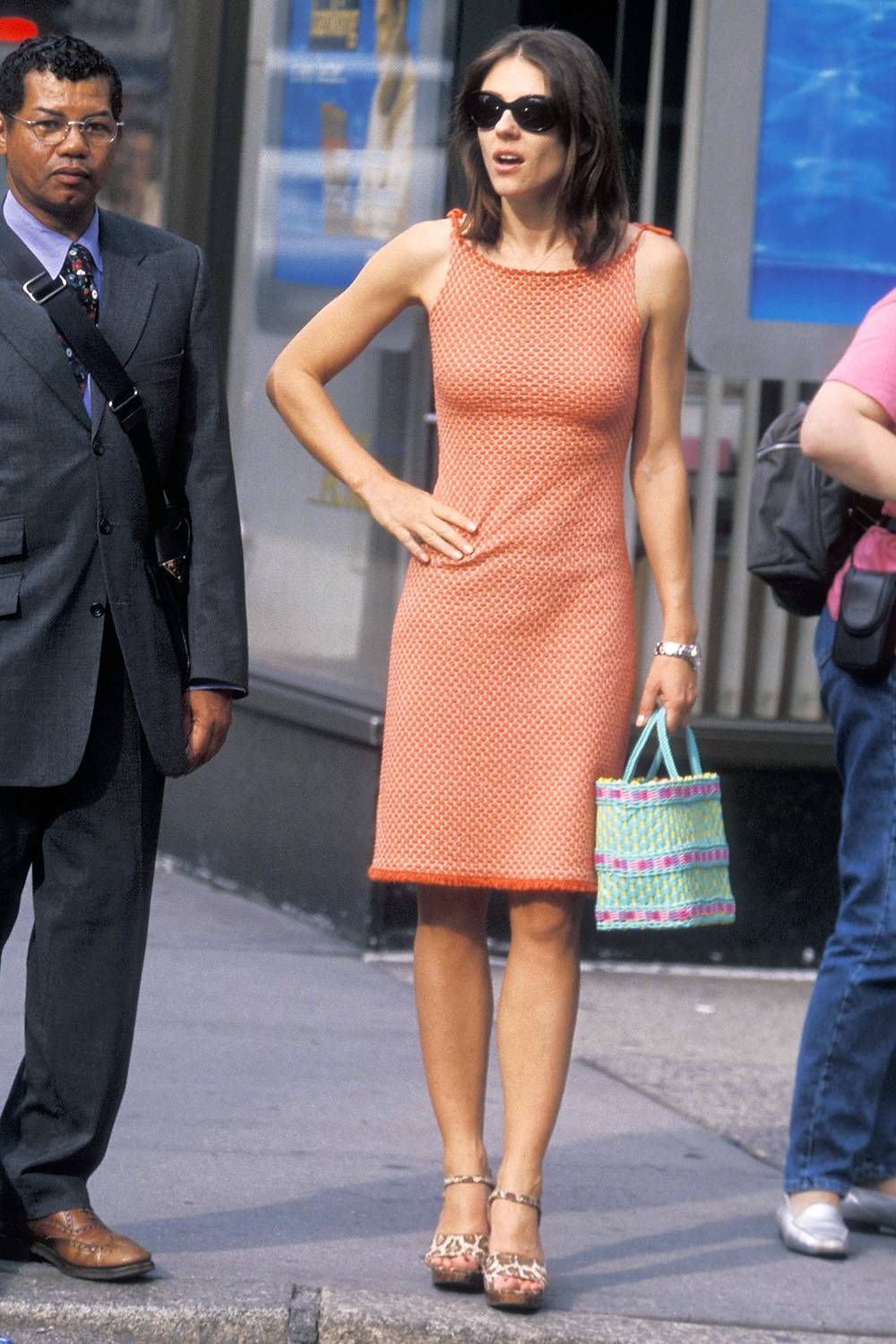 Liz Hurley Circa 1990 Is So On Trend For Now In 2020 Orange Mini Dress Hurley Style 90s Fashion Outfits