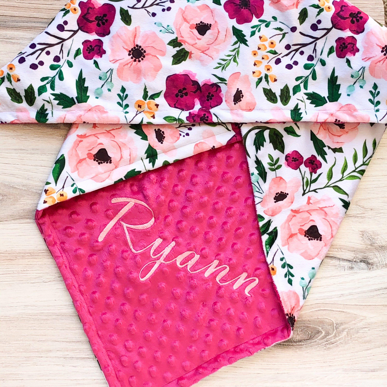 Floral Girl Blanket Baby Monogram Blanket Personalized Floral Blanket Floral Baby Blanket Baby Girl Blanket Baby Gift Baby Shower Gift