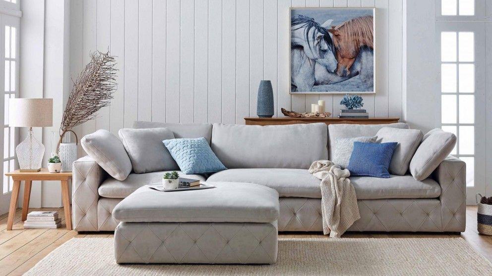 San Fran 3 Seater Fabric Sofa Grey Lounges Harvey