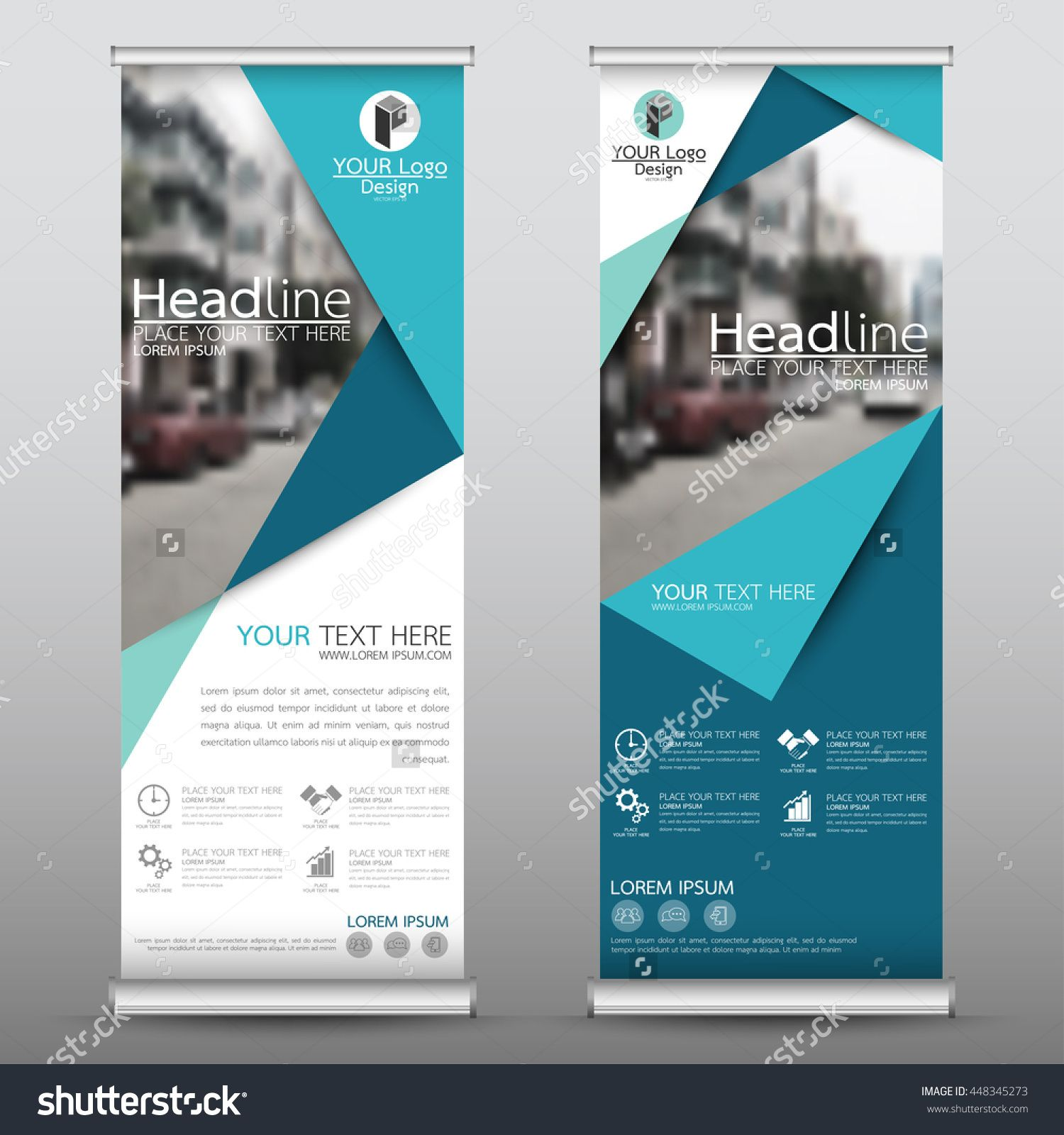 Blue Roll Up Business Brochure Flyer Banner Design Vertical Template