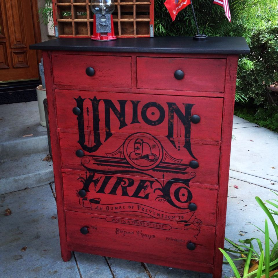 Vintage dresser painted in Miss Mustard Seed's Tricycle Red with hand painted graphic.