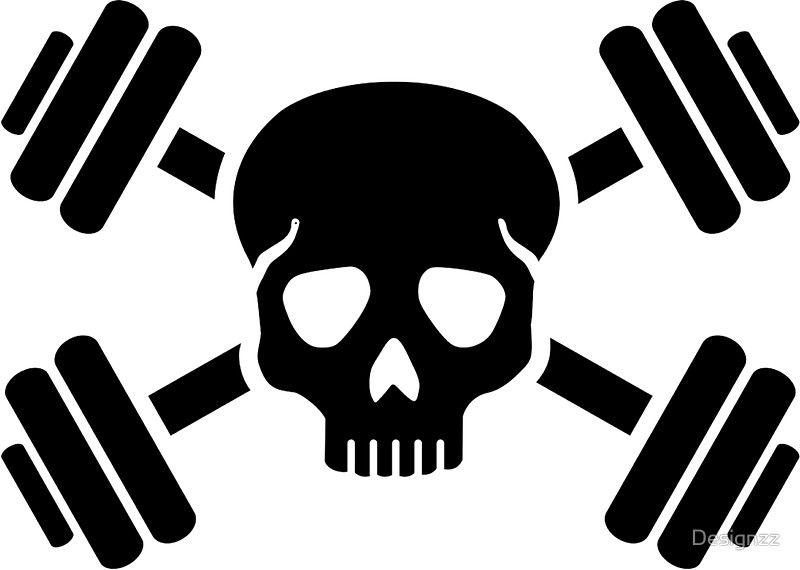 Crossed barbells skull stickers by designzz redbubble