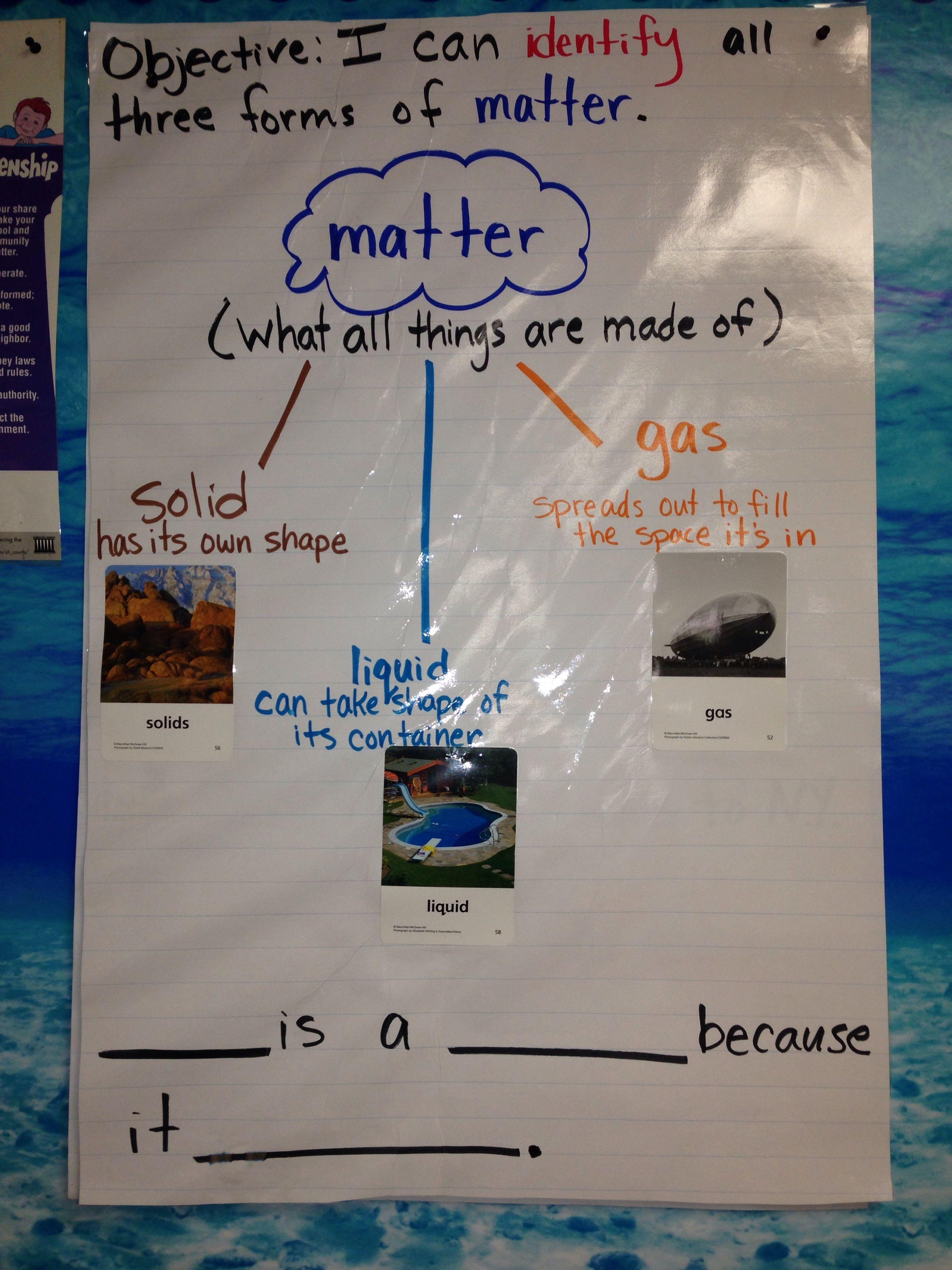 First Grade Science Identify Matter
