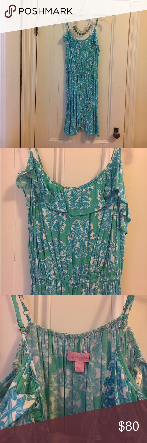 Lilly Pulitzer Summer Dress Lilly Pulitzer summer dress. Worn once. Size L. Extremely comfortable, adjustable straps and elastic waist. Lilly Pulitzer Dresses Midi
