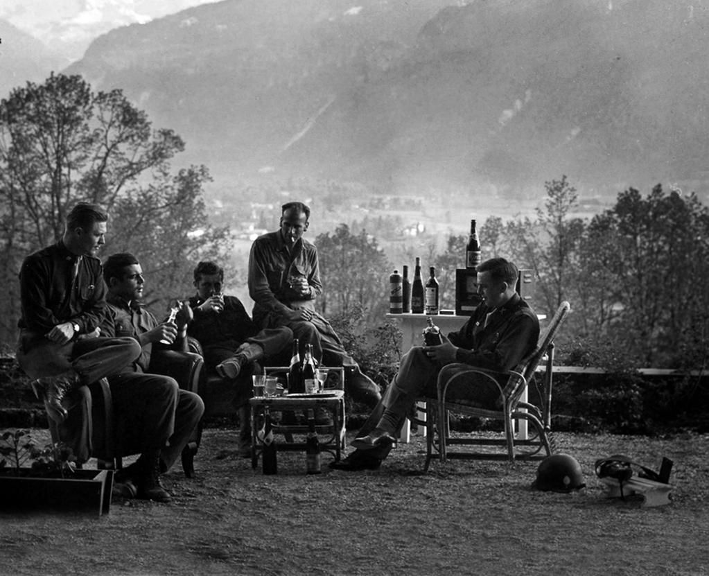 Paratroopers of Easy Company (Band of Brothers), Major Winters, Captain Nixon and Lieutenant Welsh at the Eagle's Nest, 1945