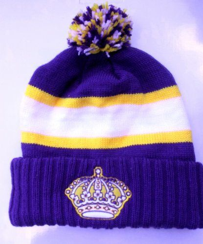 LOS ANGELES KINGS Vintage Cuffed Pom Knit Hat Skully Ski Cap By Reebok by  NHL. 623096780