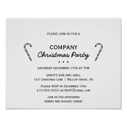 Rustic Candy Cane Company Christmas Party Invite Poster  Minimal