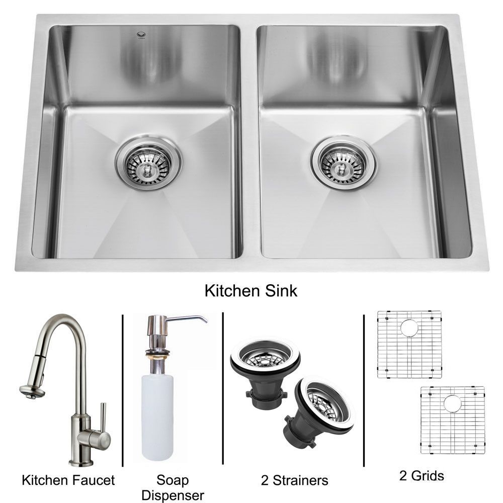 VIGO Undermount Stainless Steel Kitchen Sink, Faucet, Two Grids ...