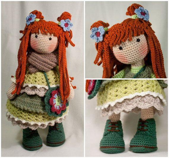 Crochet Pattern For Doll ELLIE, Pdf (Deutsch, English
