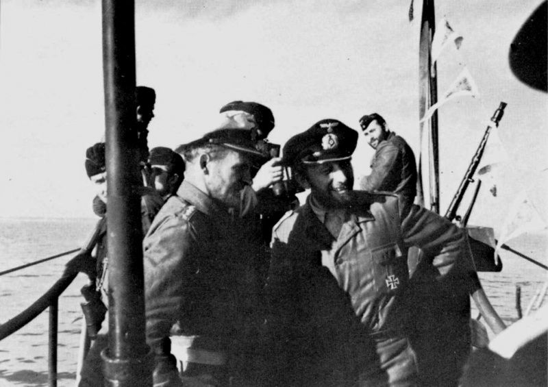 The commander of the German submarine U-552 Lieutenant Commander Erich Topp standing on the bridge at the time of returning from military campaign.