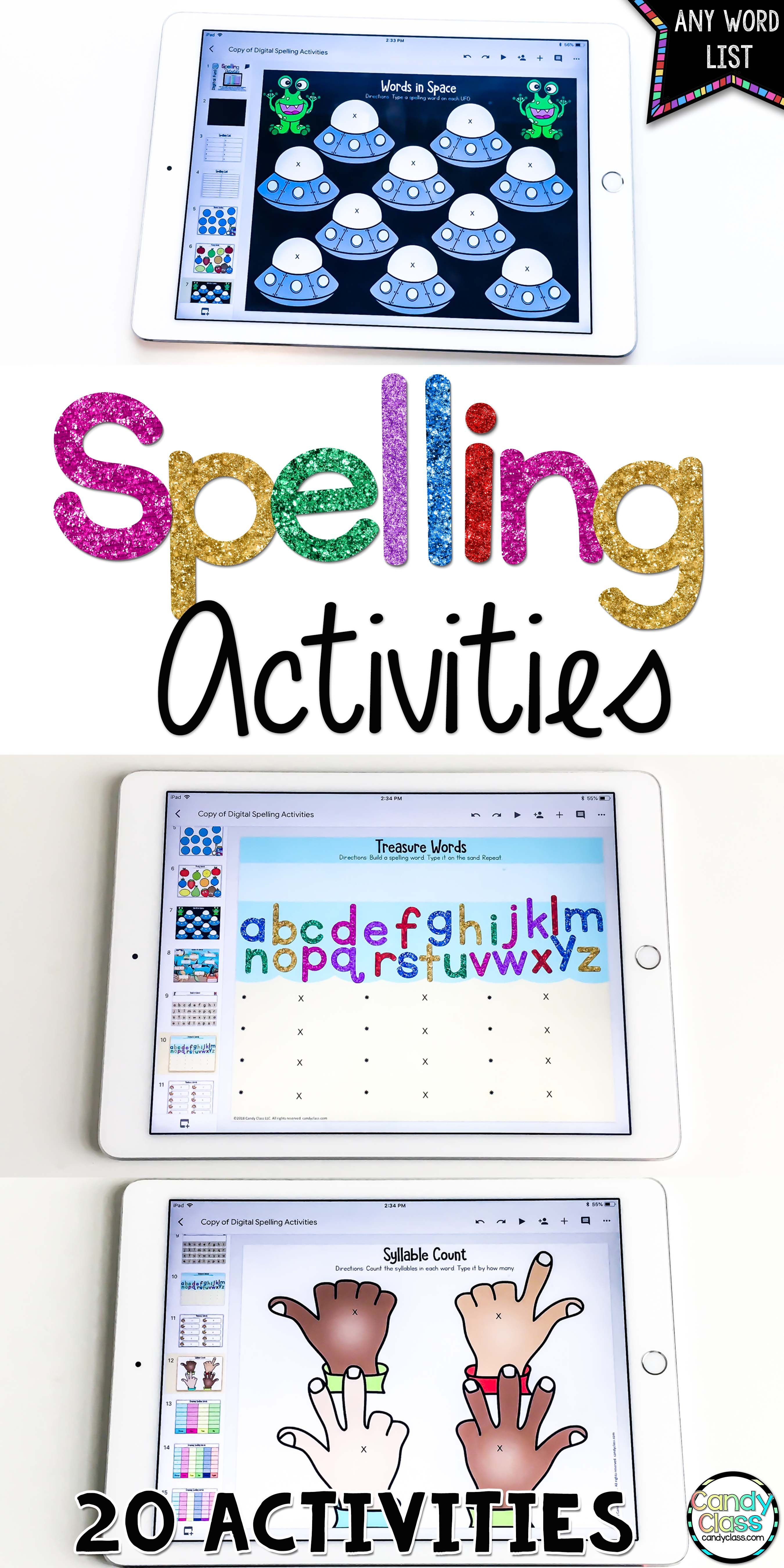 Digital Spelling Activities For Any Lists Of Words Google Classroom Word Work Spelling Activities Teaching Spelling Spelling Word Activities