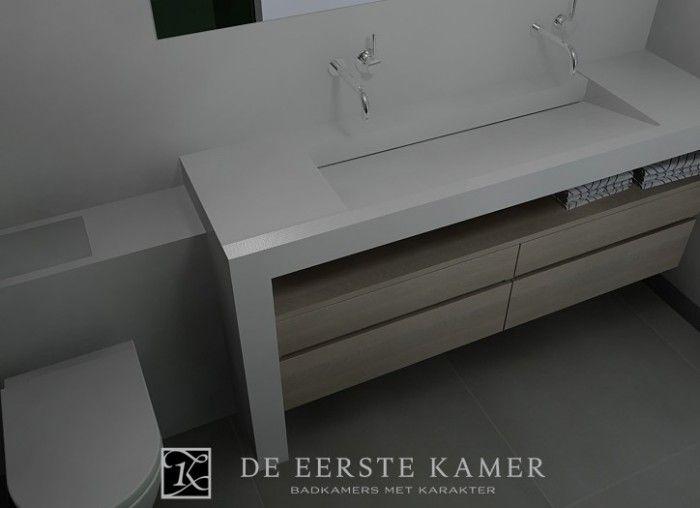 De eerste kamer een moderne wastafel van composiet gecombineerd met een zwevende onderkast van - Kamer van rustieke chic badkamer ...