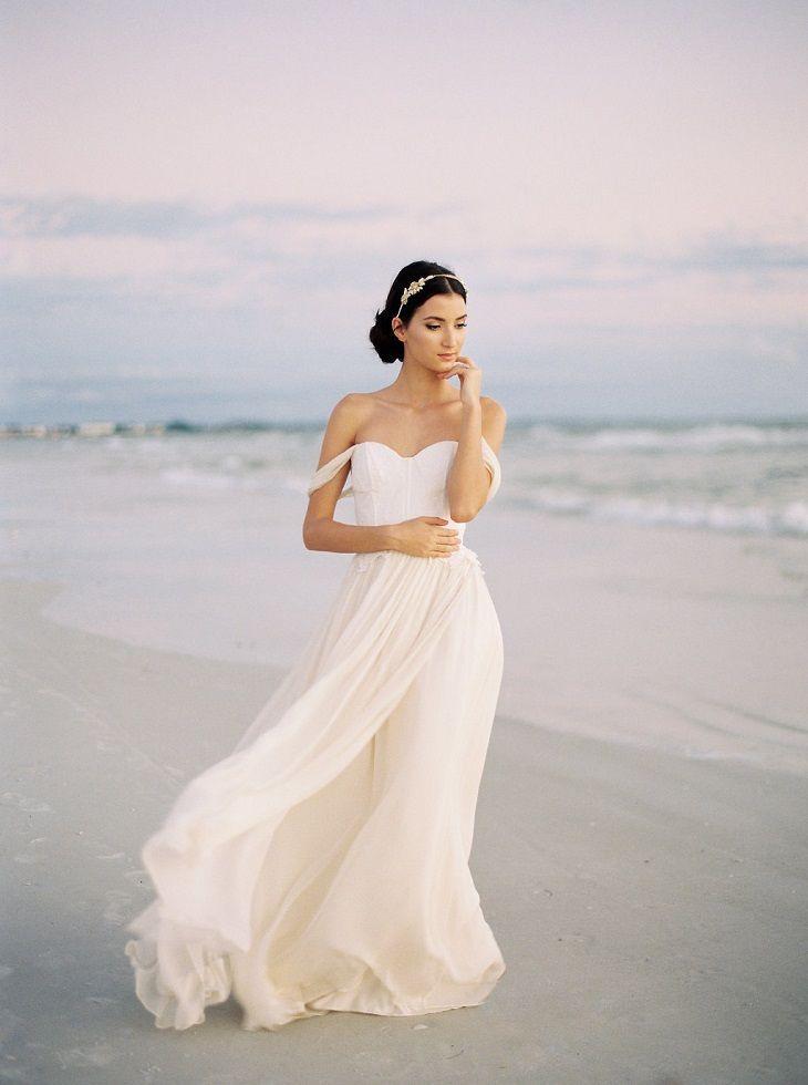 Chiffon and Lace Wedding Dress, Ivory Silk Chiffon Wedding Dress, Off The Shoulder Wedding Gown, Romantic Wedding Dress
