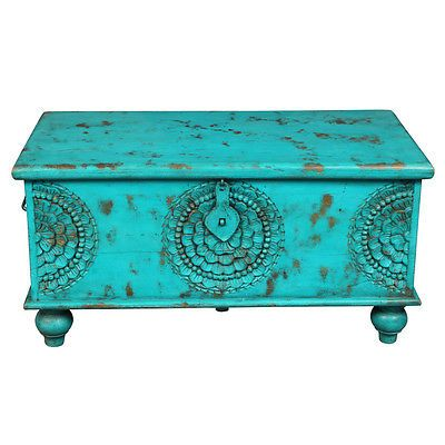 Coffee Table Distressed Blue Rustic Trunk Chest Furniture ...