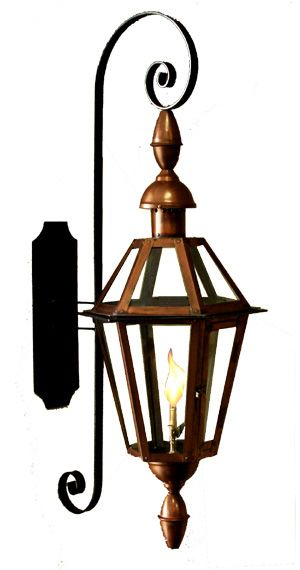 Six Sided French Quarter Outdoor Gas Lantern On Full Scroll Bracket With Church Top And