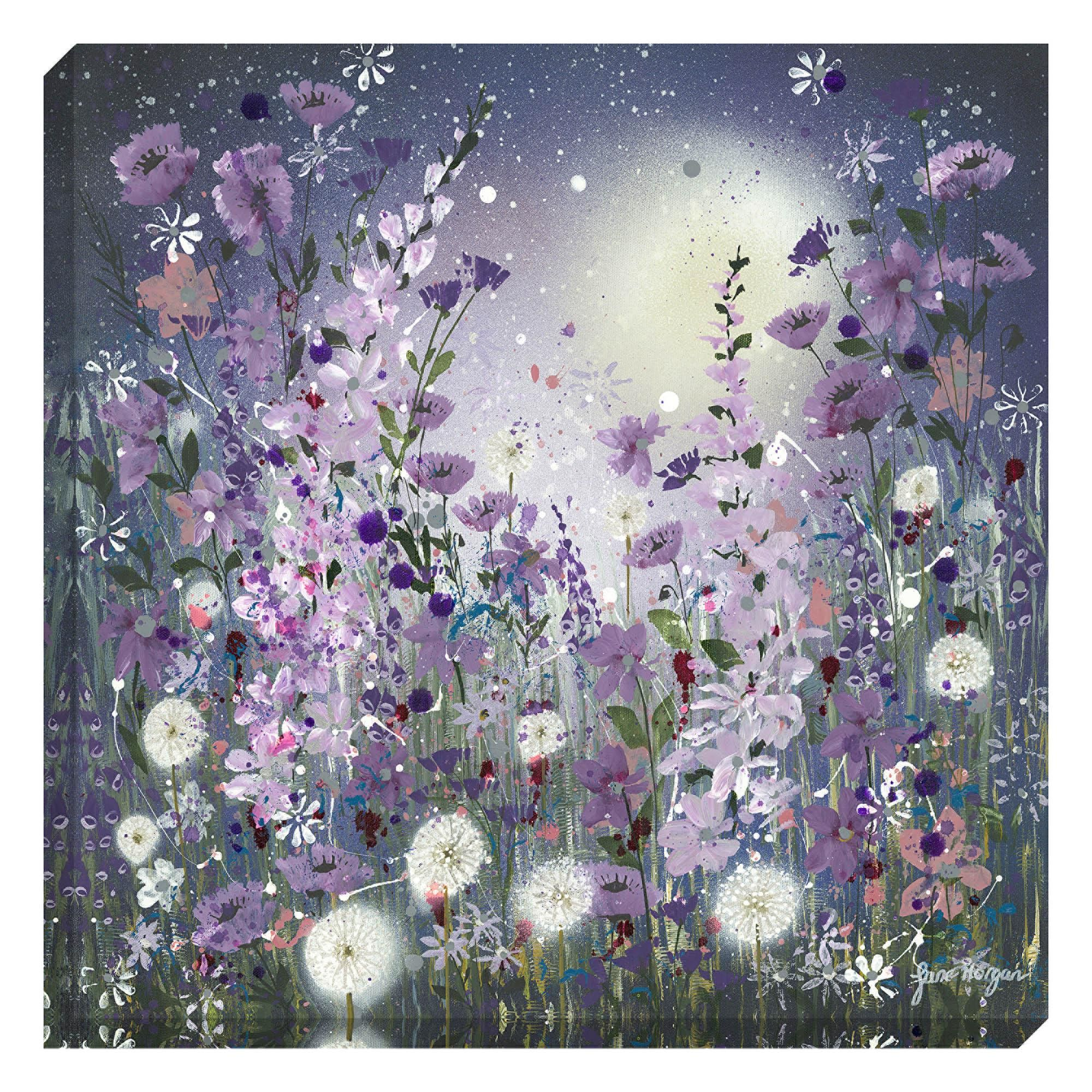 Dunelm floral lilac purple clocks in the moonlight canvas