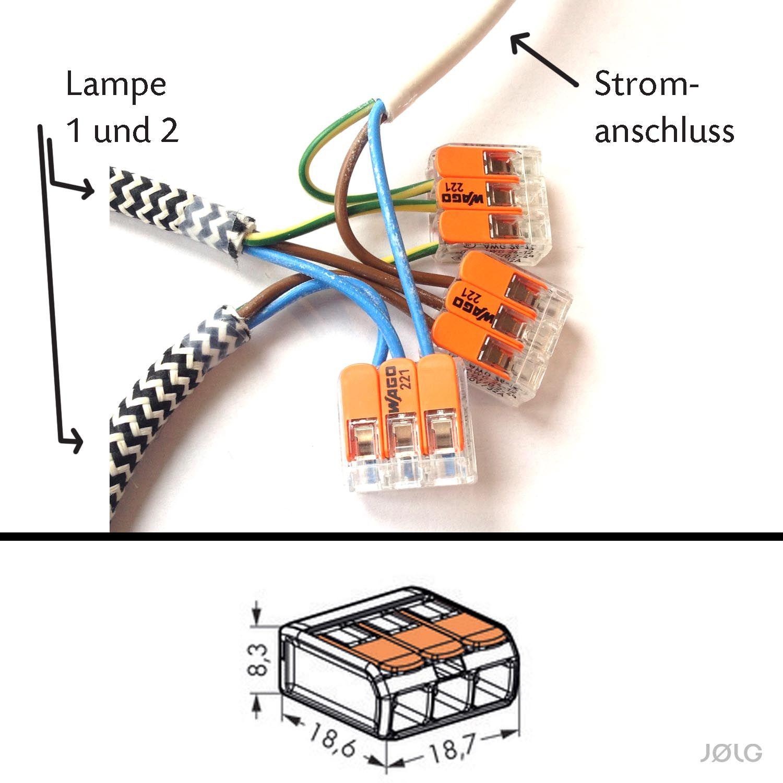 Eine oder mehrere Lampen an einen Stromanschluss mittels