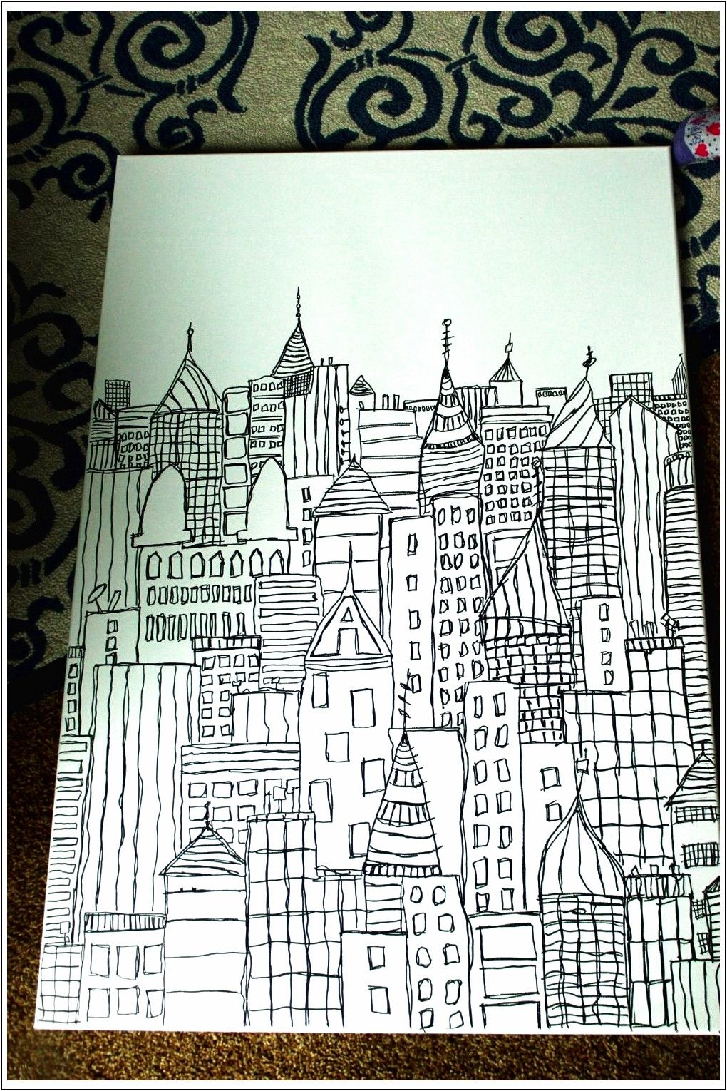 Diy Sharpie Art Cityscape Sketch Su Tela Decorazione Te Sharpie Art Crayola Coloring Pages Christmas Coloring Pages