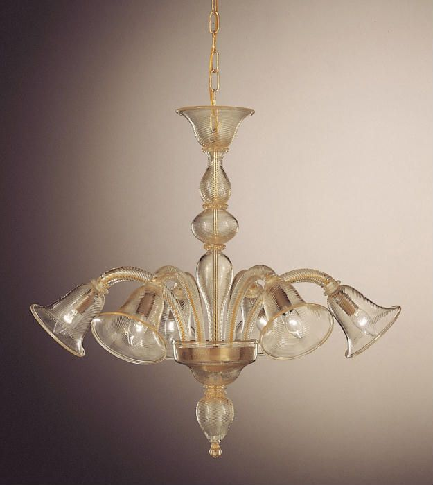 Crystal and gold murano glass chandelier with tulip shaped shade crystal and gold murano glass chandelier with tulip shaped shade aloadofball Image collections