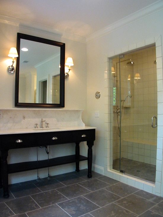 Fantastic Modern Bathroom Design With Slate Staggered Tile Floor Ebony Marble Washstand Black Beveled Mirror Polished Nickel Sconces And Light Blue